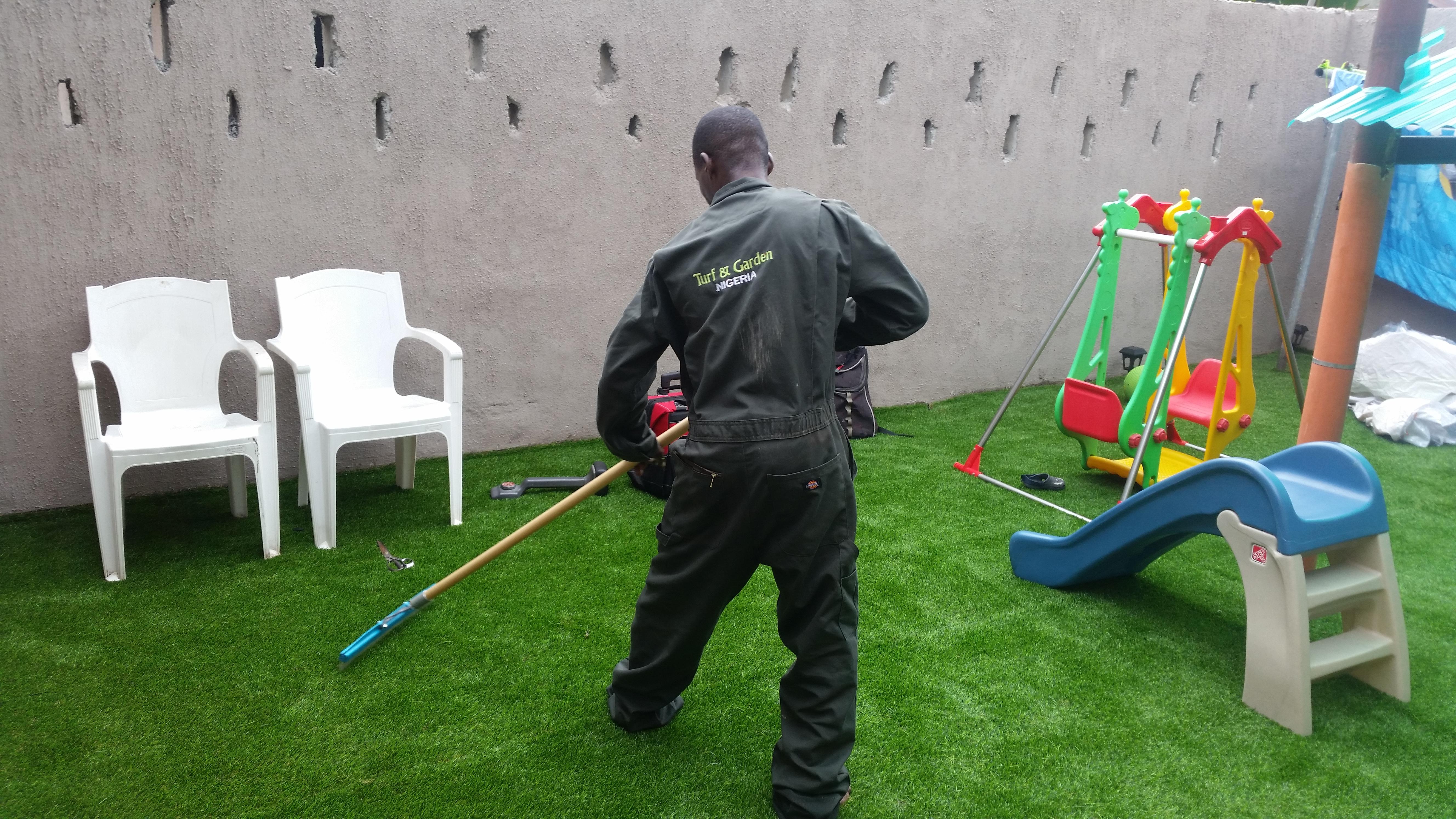 Residential kids playground, Elimgbu, PHC - Brushing in progress