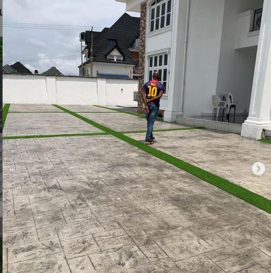 Premium grass installed on increte